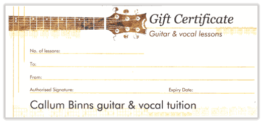 Guitar lesson gift vouchers Caerphilly
